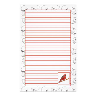 Red Cardinal Bird Lined Stationery Paper