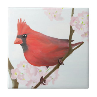 Red Cardinal Bird (Male) Sitting on Cherry Blossom Ceramic Tile