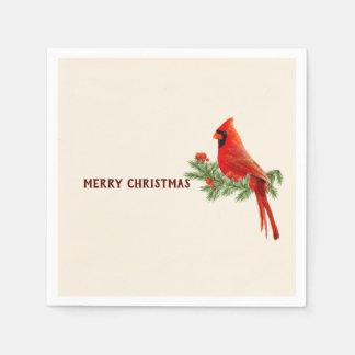 Red Cardinal Bird Merry Christmas Paper Napkin