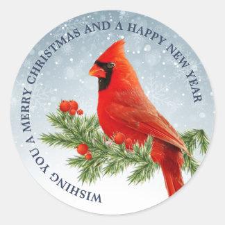 Red Cardinal Bird Merry Christmas Sticker