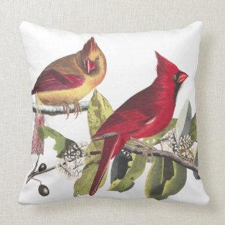 Red Cardinal Birds Wildlife Audubon Throw Pillow