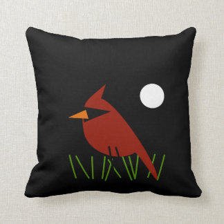 Red Cardinal by Moonlight Throw Pillow