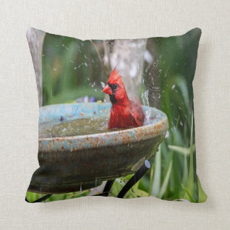 red cardinal cushion