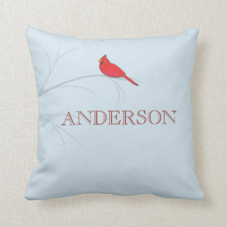 Red Cardinal Editable Decorative Pillow