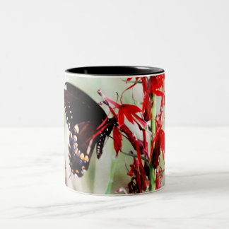 Red Cardinal Flower and Butterfly Coffee Mug