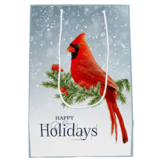 Red Cardinal Happy Holidays Gift Bag