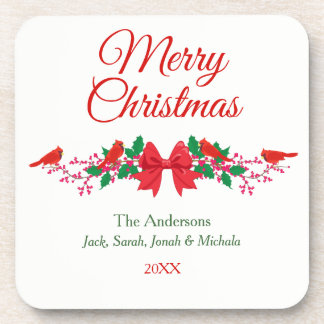 Red Cardinal Holly Personalized Christmas Coaster