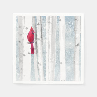 Red Cardinal in beautiful snowy Birch Tree Forest Disposable Serviette