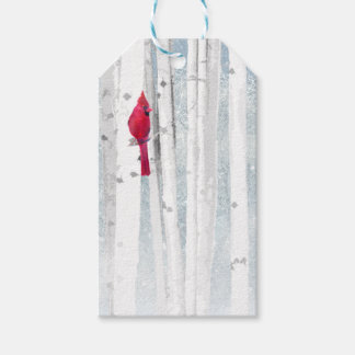Red Cardinal in beautiful snowy Birch Tree Forest Gift Tags