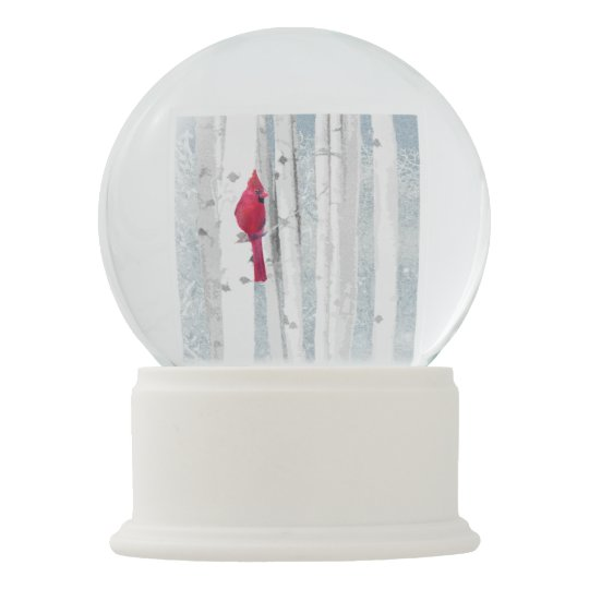 Red Cardinal in beautiful snowy Birch Tree Forest Snow Globe