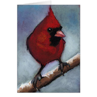 RED CARDINAL IN OIL PASTEL GREETING CARD