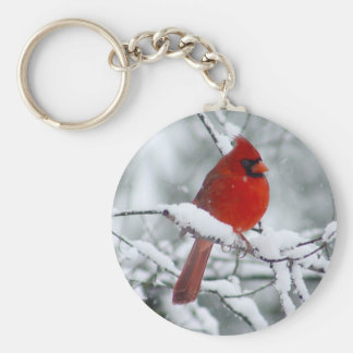 Red Cardinal in the Snow Keychain