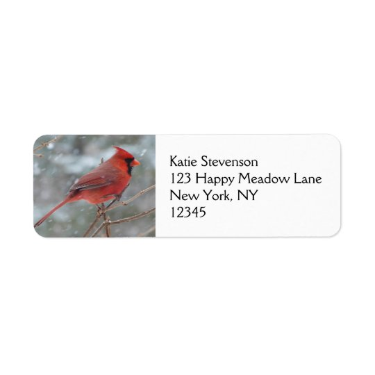 Red cardinal in Winter Return Address Label