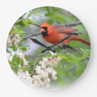 Red Cardinal Large Clock