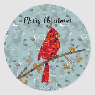 Red Cardinal Mosaic Classic Round Sticker