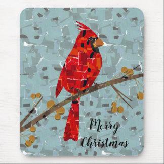 Red Cardinal Mosaic Mouse Pad