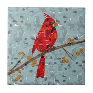 Red Cardinal Mosaic Small Square Tile