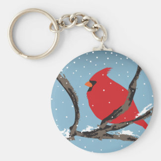 Red Cardinal On A Branch Keychain