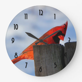 Red Cardinal on Wooden Stump Large Clock