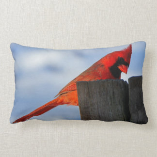 Red Cardinal on Wooden Stump Lumbar Cushion