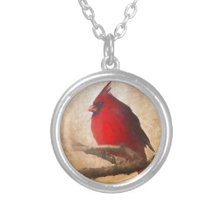 Red Cardinal Painting Silver Plated Necklace