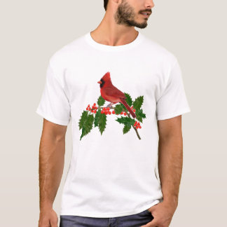 RED CARDINAL PERCHED ON HOLLY T-Shirt