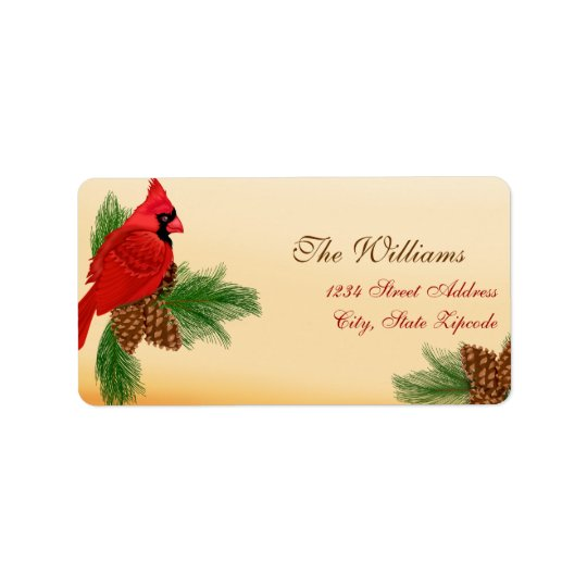 Red Cardinal & Pines Christmas Address Label