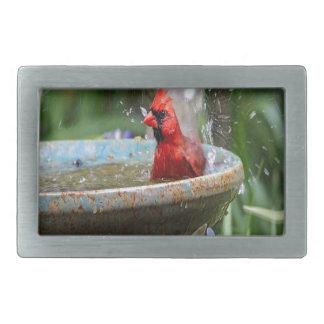 red cardinal rectangular belt buckle