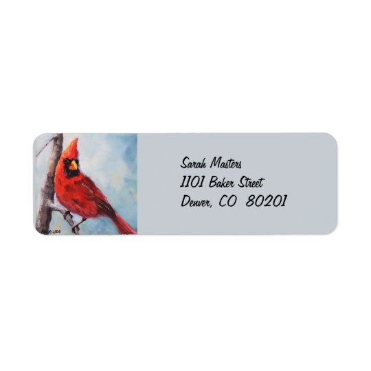 Red Cardinal Return Address Label