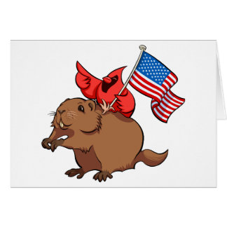 Red Cardinal Riding a Groundhog with American Flag Card