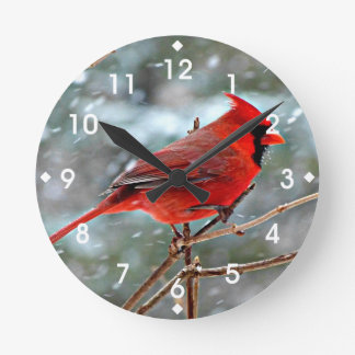 Red Cardinal Round Clock