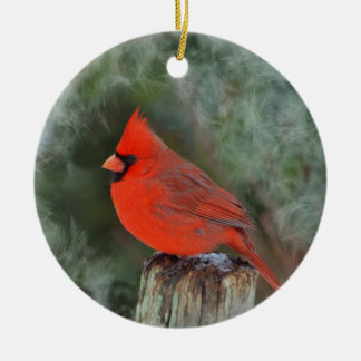 Red Cardinal round ornament