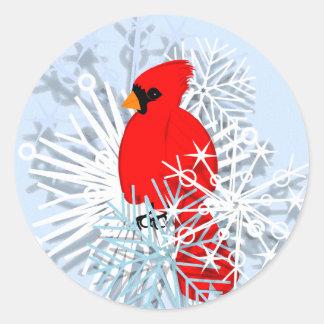 Red Cardinal & Snow flakes Round Sticker