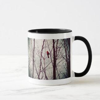 red cardinal -winter scene mug