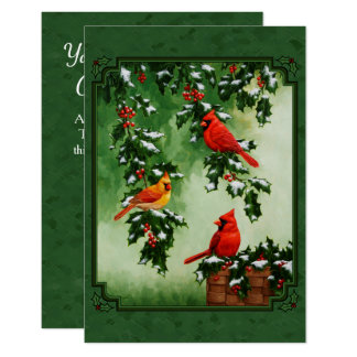 Red Cardinals and Holly Green 9 Cm X 13 Cm Invitation Card