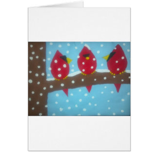 RED CARDINALS IN THE SNOW CARD