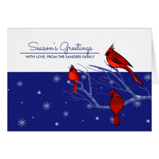Red Cardinals Personalized Christmas Greeting Card