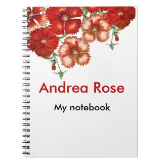 Red Carnation Floral Notebook