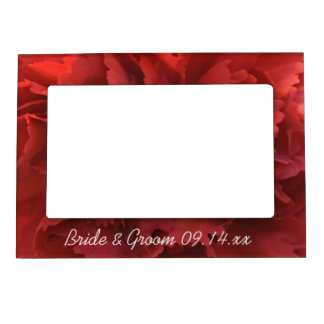 Red Carnation Floral Wedding Magnetic Picture Frame