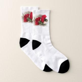 Red Carnation Flowers Floral Socks
