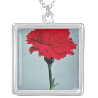 Red carnation flowers square pendant necklace