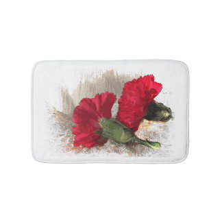 Red Carnations on Brocade Bath Mats