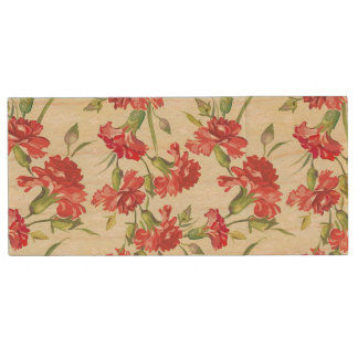Red Carnations on green with butterflies Wood USB 2.0 Flash Drive