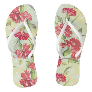 Red Carnations on green with butterflies Thongs