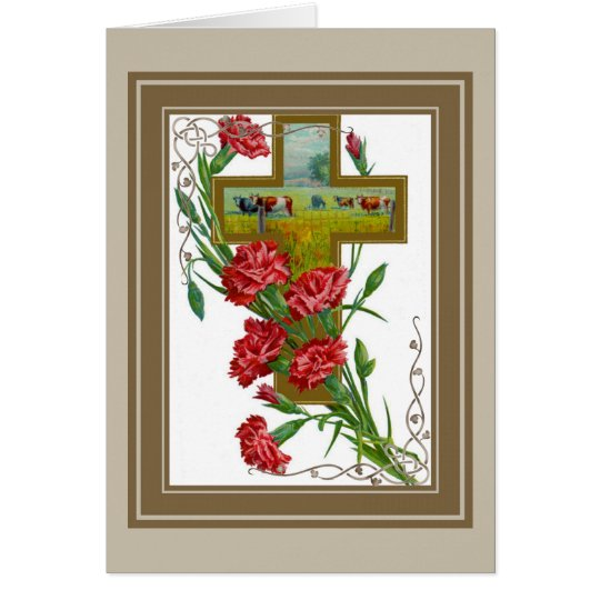 Red Carnations With Cross Card