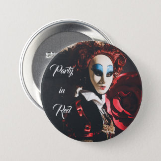 Red carnival mask in Venice, Italy 7.5 Cm Round Badge