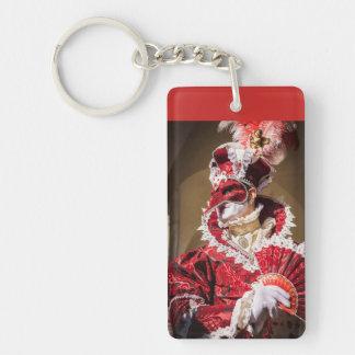 Red carnival mask in Venice, Italy Key Ring
