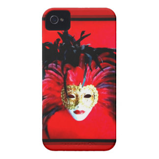 RED CARNIVALE MASQUE PRINT iPhone 4 COVERS