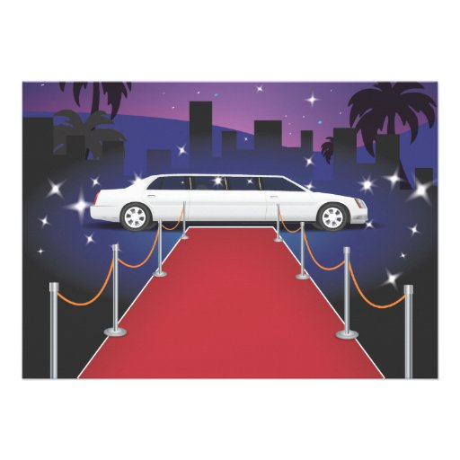 Red Carpet Celebrity Limo Custom Invitations