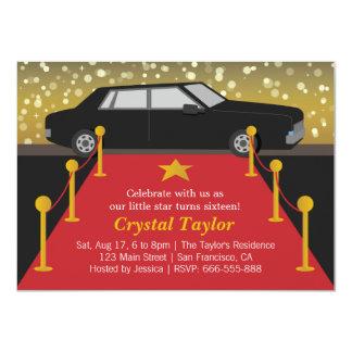 Red Carpet Glam Hollywood Party Girl Birthday 11 Cm X 16 Cm Invitation Card